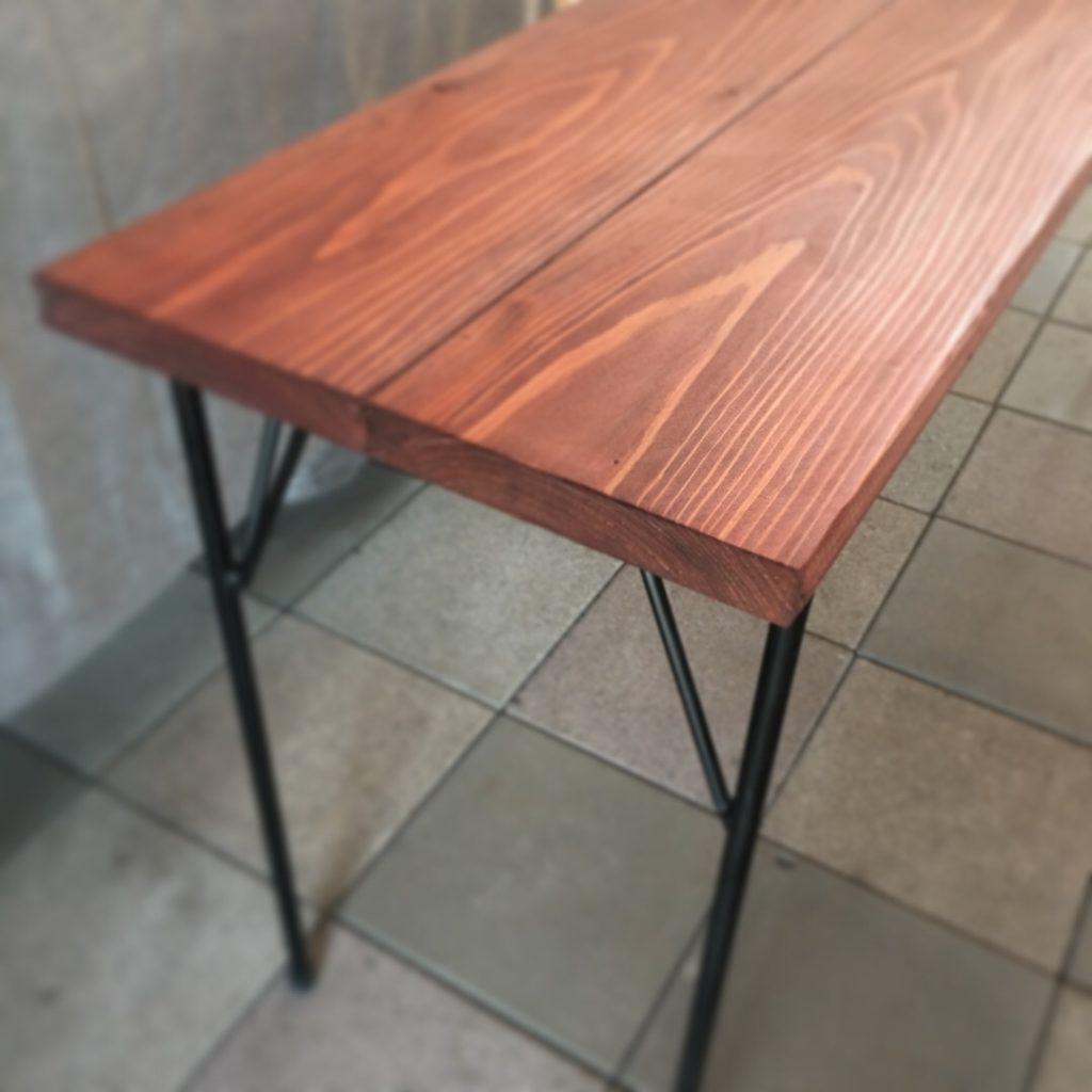 自作鉄脚テーブルをワトコオイルで塗装した結果